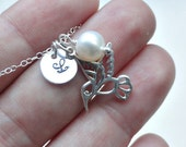 Sterling silver humming bird necklace, white pearl, personalized initial stamped charm, letter, bridesmaid necklace, bird jewelry, everyday