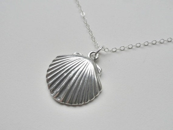 Sterling silver charm necklace, seashell pendant, simple jewelry, beach wedding, bridesmaid, large sea shell, silver jewelry
