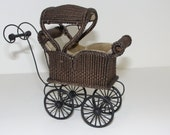 MADE TO ORDER Miniature Wicker Sleeping Coach for Dollhouses 1""