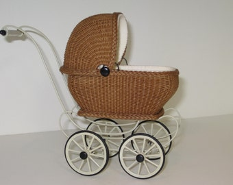 MADE TO ORDER- Wicker Hooded Buggy for a Dolls Doll