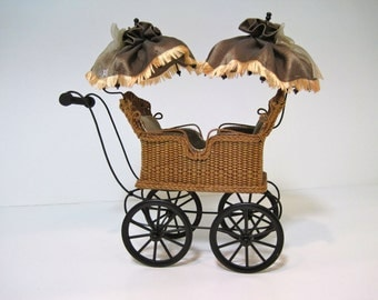 MADE TO ORDER Miniature Wicker Twin Carriage for Dollhouses 1""
