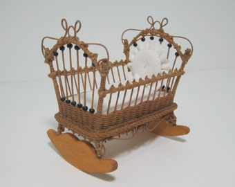 MADE TO ORDER Miniature Wicker Cradle for Dollhouses 1""