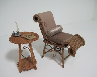 Miniature Wicker Reception Chair for Dollhouses 1""