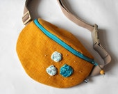fanny pack - brownyellow and light blue (big size)