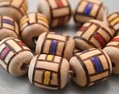 Wood Burned Beads - Chunky Geometric Color Block Natural Wood Beads - Barrel Shape 12 pcs
