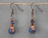 Indigo Blue Sodalite Stone Copper Wire Wrapped Earrings