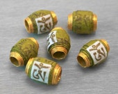 Mantra Beads - Om Prayer Scroll Handmade Paper Beads - Om Mani Padme Hum - Apple Green - 6 pcs