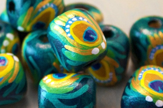 Peacock Beads - Hand Painted Wood - Animal Print Green and Gold - Barrel Shape 2 beads
