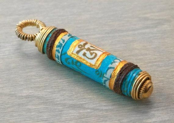 Om Pendant Mantra Prayer Scroll OOAK Handmade Paper Bead - Om Mani Padme Hum - Turquoise with Brass