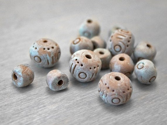 Polymer Clay Loose Beads Mix - Antiqued Verdigris Patina Earthy Green Gray Brown - 14 Beads