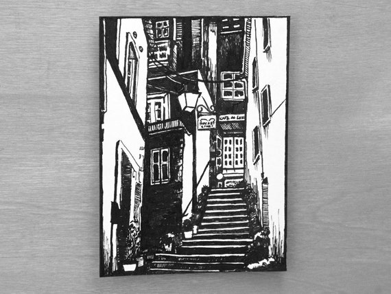 Urban Landscape Alleyway Original Ink Drawing ACEO ATC Artist Trading Card