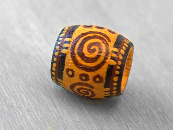 Dreadlock Bead Tribal Hair Bead - Wood Hand Painted Hair or Jewelry Bead
