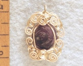 Carved Amethyst Rose in Sterling Silver Filigree Wire Wrapped Pendant Number 4 of 500