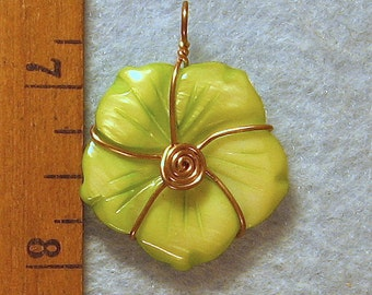 Carved Mother of Pearl Wire Wrapped Flower Pendant
