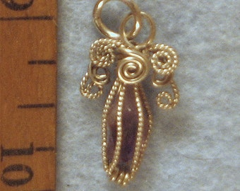Amethyst Crystal Angel Cage in Argentium Sterling Silver Wire Wrapped Pendant Number 8 of 500