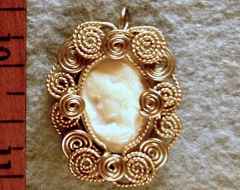 Carved Mother of Pearl Cameo in Argentium Sterling Silver Wire Wrapped Pendant Number 1 of 500
