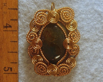 Bloodstone Filigree  Wire Wrapped Pendant