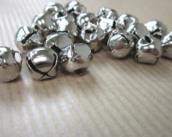 20 Small Silver Metal Bells