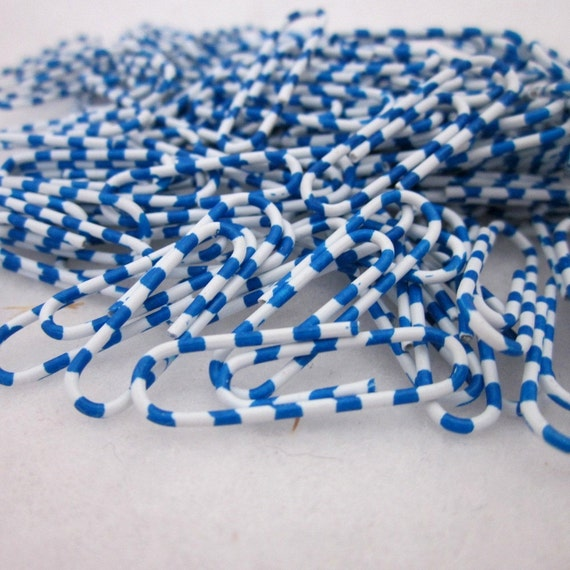 100 Blue and White Striped Paperclips