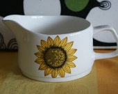 Vintage white, yellow, and brown J G Meakin Retro Large Parma Sunflower Jug Sauce Gravy Boat.