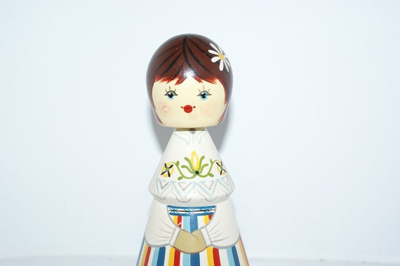 Vintage Tall Painted Wooden Russian Doll