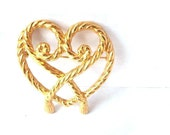 gold heart brooch - You Roped Me In Valentine- vintage gold rope heart brooch pin, tagt team