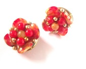 Vintage Red and Gold Cluster Bead Earrings - Clip on signed Hong Kong, tagt team christmas stockign stuffer