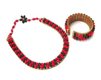 Queen of Hearts - vintage valentine choker necklace and bracelet set in gold, black, red, and rhinestones