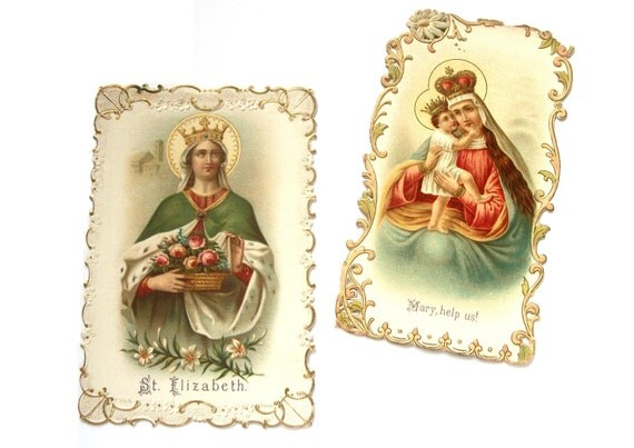 Vintage set of two Religious Christian Keepsake Funeral Cards - Mary and Elizabeth - early 1900s
