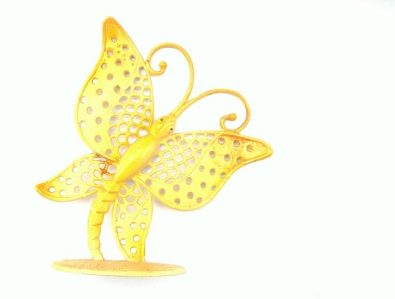 Vintage 70s Yellow Metal Butterfly Earring Holder - signed Revere MFG.