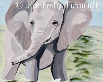 Having a Paddle Baby Elephant (Original Acrylic on Canvas) Kim.T 11