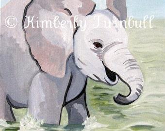 Splashing About Baby Elephant Painting (Original Acrylic on Canvas) Kim.T 11