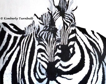 The Zebras, African Art Original Acrylic Painting on Canvas, Kim.T 2012