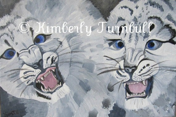 Baby Snow Leopards (Original Acrylics on Canvas) Kim.T.2011