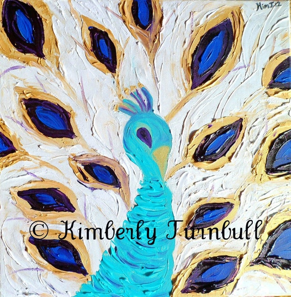 Royal Peacock - Gold, Blue, Green, Purple (Original Acrylic on Canvas) Kim.T 12