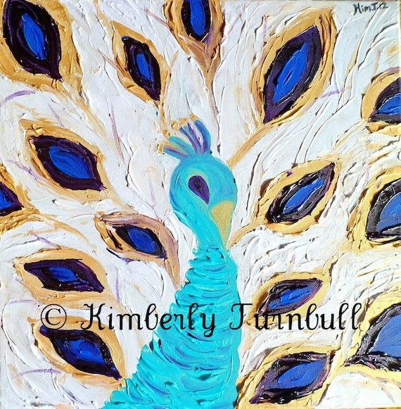 Royal Peacock - Gold, Blue, Green, Purple (Original Acrylic on Canvas) Kim.T 12