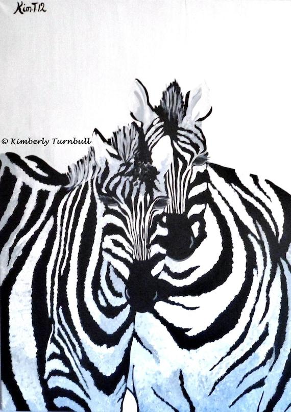The Zebras, African Art Original Acrylic Painting on Canvas, Kim.T 2012