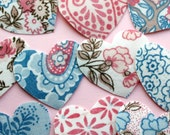 Vintage Fabric Heart Stickers, Large, Pink, Brown and Blue, 10 pieces