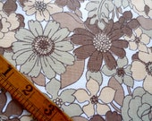 Vintage Fabric Fat Quarter, Floral, Brown, Sewing