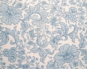 Vintage Fabric, Light Blue Floral Print, Fabric Piece, Sewing Supply