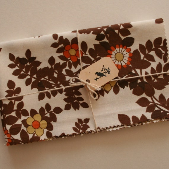 Vintage Fabric, Floral, Cotton Fat Quarter, Brown and Orange, Sewing Supplies