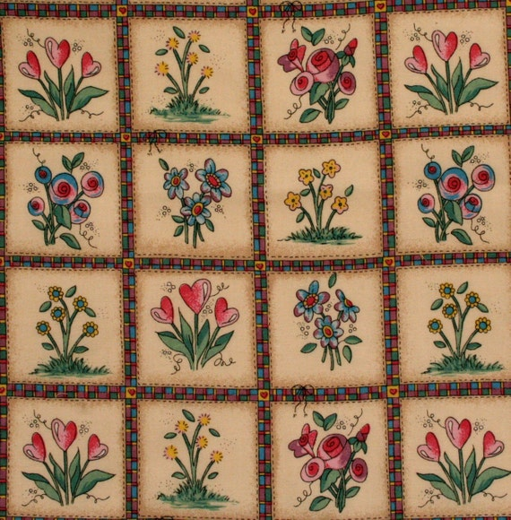 Floral Sewing Fabric, Remnant Piece, Supplies
