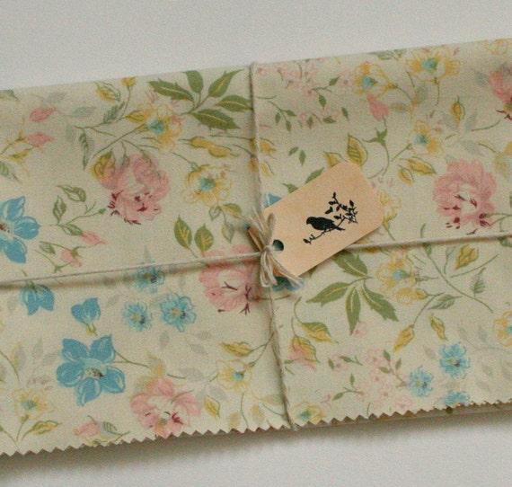 Vintage Fabric, Floral, Pastel Shades, Fat Quarter