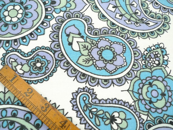 Vintage Fabric Fat Quarter, Turquoise and Lilac Paisley and Flower Print