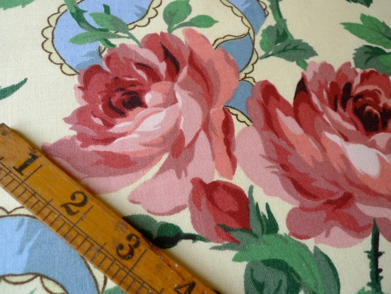 Rose and Ribbon Print Cotton Fabric, Floral Fat Quarter, Sewing supplies