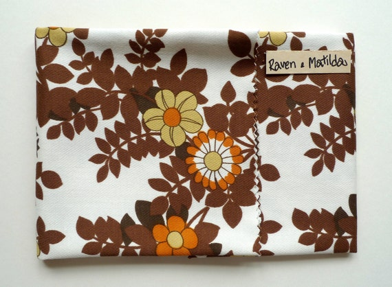 Vintage Fabric Fat Quarter, Floral Cotton, Brown and Orange, Sewing Supplies