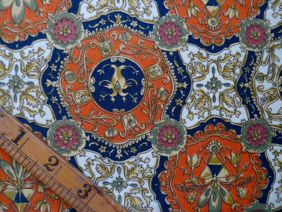 Rare Vintage Sewing Fabric, Ornate Pattern Fat Quarter, Supplies