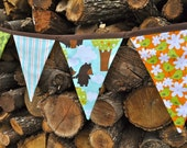 Fabric Woodland banner bunting, David Walker's Get Together, Kids room, playroom decor, birthday party decor, photo prop
