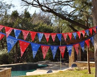"Blue & Red Bandana ""Mini"" Banner Bunting, Western, Cowboy, Horse, Barn, Birthday party decoration, photo prop"