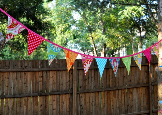 Ready to ship Fabric pennant flag banner bunting Birthday